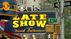 Late Show with David Letterman Marquee CBS - stock footage