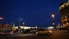 The Kremlin and the Red Square in the evening Stock Footage