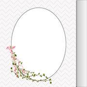 Floral twig on oval frame - stock illustration