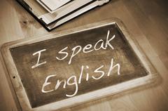 I speak english Stock Photos