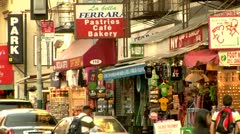 Stock Video Footage of LIttle Italy Shops Lower Manhattan New York City