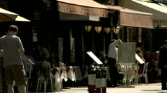 Little Italy Cafe Table Service Sidewalk Cafe New York City Stock Footage