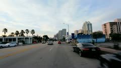 P.O.V. driving Miami city suburbs, USA Stock Footage