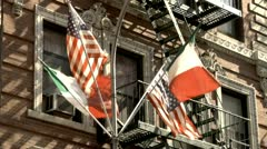 Little Italy Italian and American Flags Waving Stock Footage