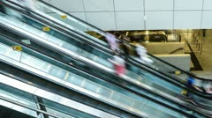 People taking escalator in shopping mall, time lapse. Stock Footage