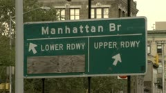 Manhattan Bridge Roadway Sign Stock Footage