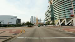 P.O.V. driving downtown Bayside, Miami, USA Stock Footage