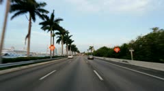 P.O.V. driving on Ocean Causeway highway Miami, USA Stock Footage
