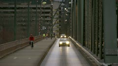 Hawthorne Bridge South Side Lane and Sidewalk in Evening Stock Footage