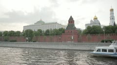 The architectural ensemble of the Moscow Kremlin. View from the river. Stock Footage