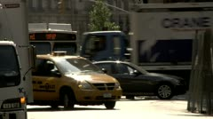 Stock Video Footage of Lower Manhattan Traffic Yellow Cab