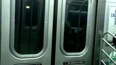 Inside Moving Subway Car New York City Stock Footage