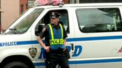 New York City cop, policeman Stock Footage