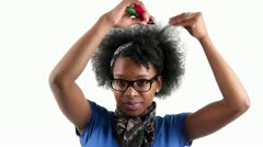 Happy african american woman her afro hair style - stock footage