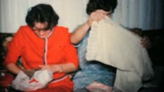Sisters Opening Christmas Presents-1960 Vintage 8mm film Stock Footage