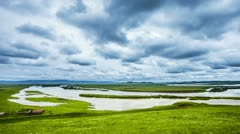 Sky and flowing river in tibet Stock Footage