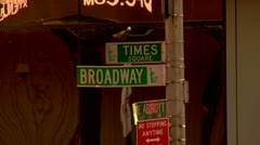 Times Square and Broadway Street Signs Stock Footage