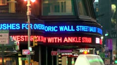 Times Square New Marquee Financial Disaster - stock footage