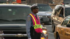 Traffic Cop Queensborough Bridge, 59 st Bridge Rush Hour Commute - stock footage