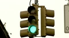 Traffic Light, Stoplight, Changes from Green to Yellow to Red  - stock footage