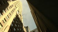 Stock Video Footage of New York CIty Wall Street Canyon Office Building Vertical View