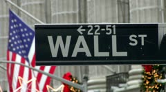New York City Stock Exchange Wall Street Sign Christmas Flag Slight Static Stock Footage