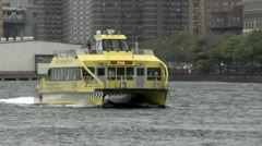 New York Water Taxi Uptown Turning - stock footage