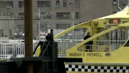 Stock Video Footage of New York Water Taxi, Docked Tight Shot