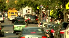 Williamsburg, Brooklyn Bedford Street School Bus Traffic Stock Footage