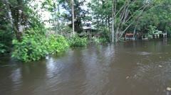 0013-Amazon-River-House-Stilts-Flood Stock Footage