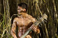 fighter man with mace weapon - stock photo