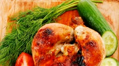 Poultry : fresh grilled whole chicken with vegetables Stock Footage