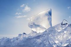 Ice of baikal lake in siberia Stock Photos