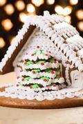 christmas gingerbread house - stock photo