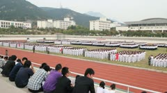 still China Chinese college students unified marching assembly drills - stock footage