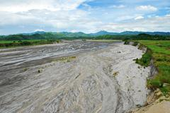 Lahar Volcanic Ashes That Dried Up Over a River Stock Photos