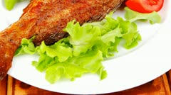 Main course : roasted sea fish Stock Footage