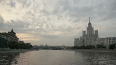 The architectural ensemble of Moscow. View from the river. Stock Footage