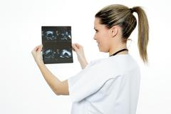 radiologist woman in action - stock photo