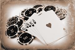 Vintage poker concept Stock Photos