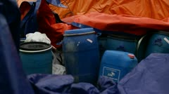Sherpas packing for high camps on Mt. Everest. Stock Footage
