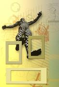 checkered man on abstract drawing - stock illustration