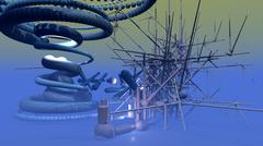 Abstract Structure in blue - stock illustration