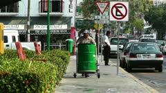 Oaxaca Crucecita Town Mexico 12 thrash man Stock Footage