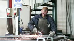 Man working with the grinder Stock Footage