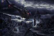 Helicopter over ruined city during storm Stock Illustration