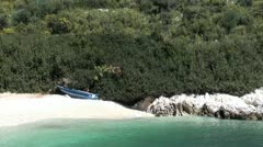 Boat on a bay beach Stock Footage