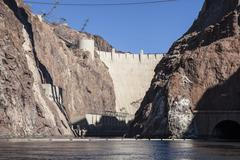 hoover dam and the colorado river - stock photo