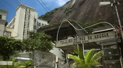 Cable car docks in station near Rio de Janeiro Stock Footage