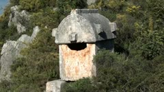 Lycian Tomb in Simena zoom out - stock footage